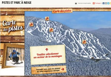 Mont Sutton, carte des pistes Conditions de ski RSA