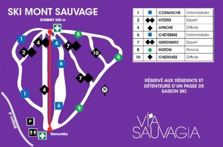 Carte des pistes SKI MONT SAUVAGE