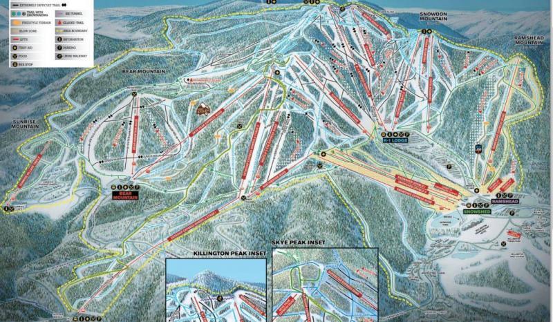 Mont Killington, Vermont, carte des pistes